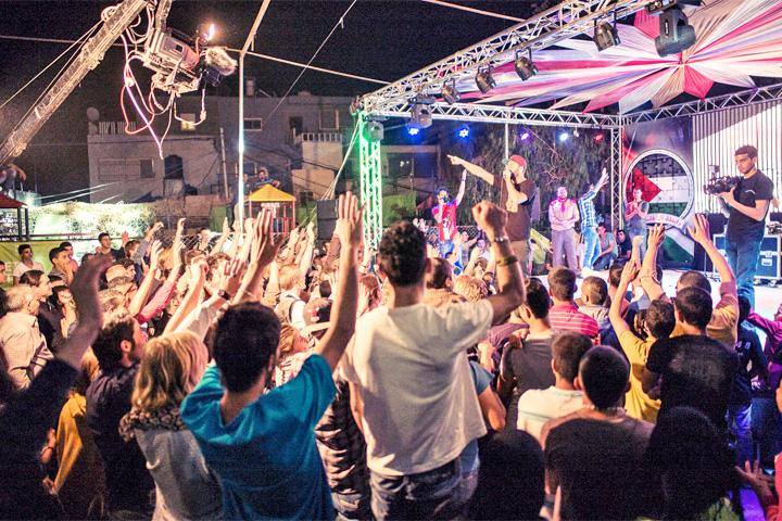 Sawa Sawa Festival in Talitha Kumi, Foto: Publikum vor Bühne